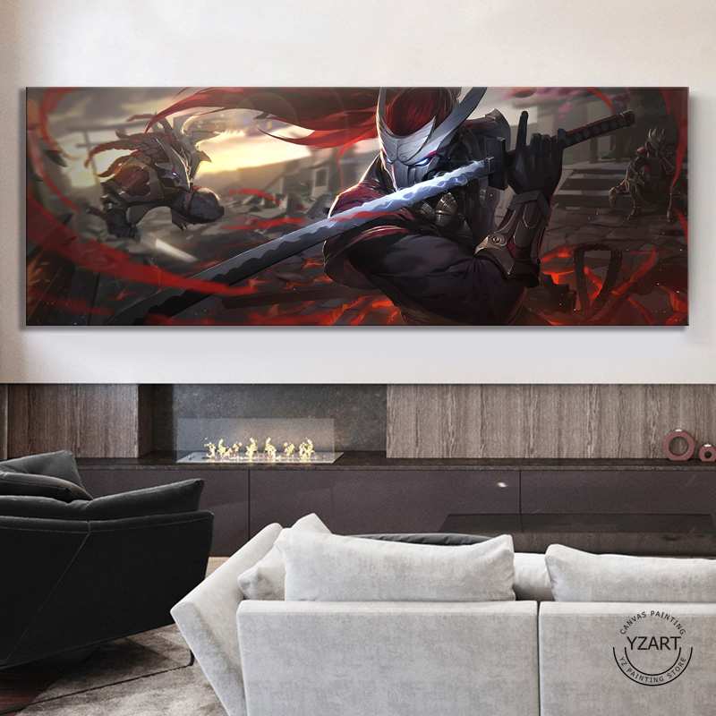 Large Size The Unforgiven Yasuo League of Legends Game Poster Wall Decor Painting LOL Games Art Canvas Painting Wall Art 1
