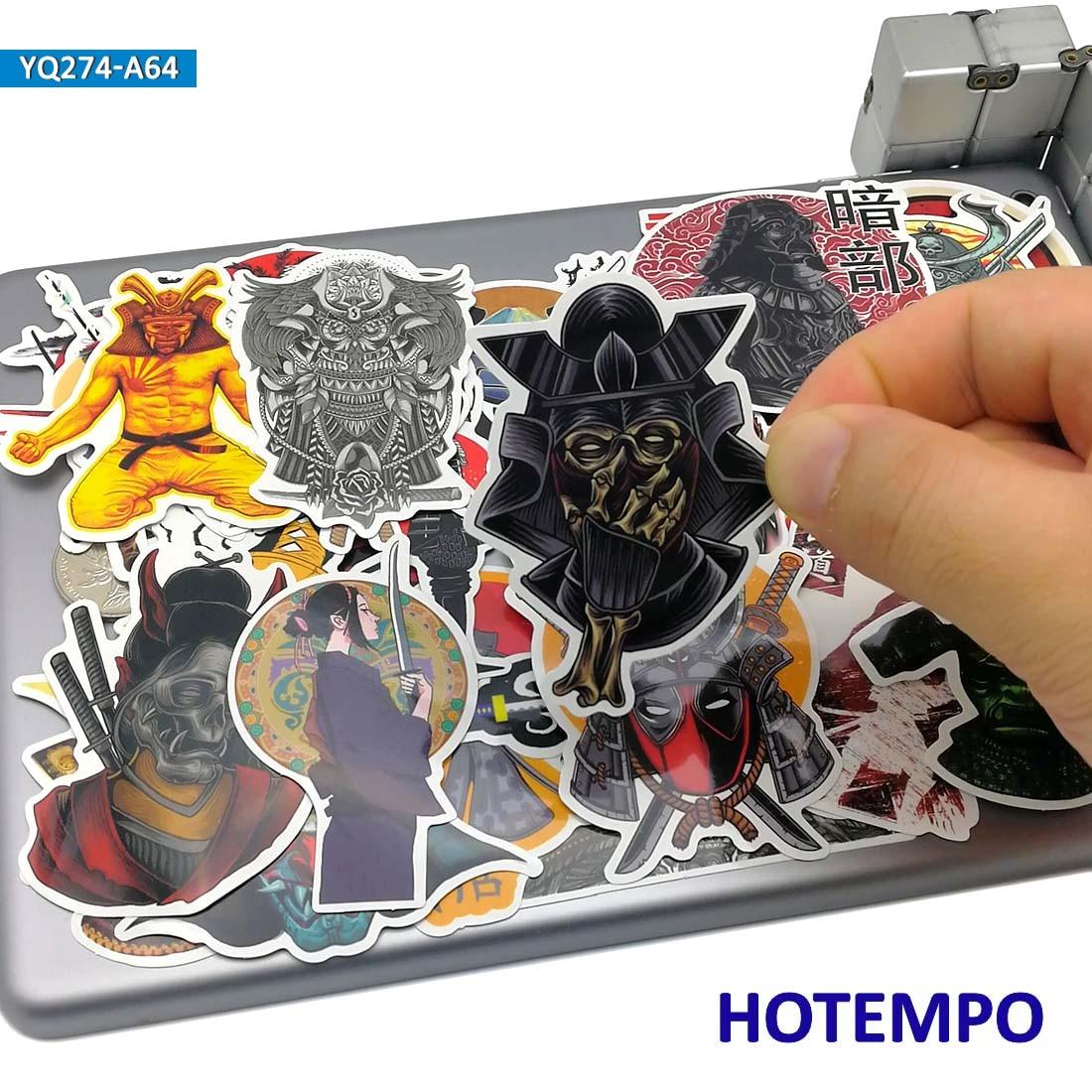 60pcs Japan Samurai Bushido Spirit Style Art Sticker For Mobile Phone Laptop Luggage Guitar Skateboard Bike PVC Waterproof Decal