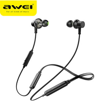 AWEI G20BL Bluetooth Earphone Wireless Headphones With Mic Dual Driver 14H Playback Stereo Neckband Headset For iPhone Xiaomi