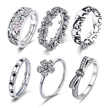 WOSTU Multi-Style Women Ring 100% 925 Sterling Silver Delicate Wedding Rings Crown Heart Bee Original Ring Engagement Jewelry 1