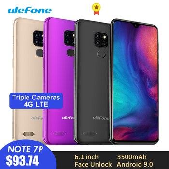 Перейти на Алиэкспресс и купить Смартфон Ulefone Note 7P, Android 9,0, 3500 мАч, 6,1 дюйма, тройная камера, распознавание лица, четырехъядерный, 3 Гб + 32 ГБ, 4G сотовый телефон, мобильный телефо...