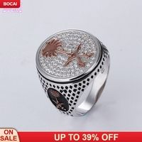 2019 new best selling 925 sterling silver jewelry trendy stylish black natural stone Thai silver inlaid zircon men's rings