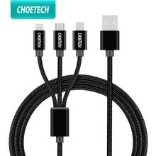 CHOETECH 3 в 1 мобильный телефон кабель для iPhone 8 7 Plus нейлоновый плетеный кабель Micro USB Type C для Samsung S8 S9 зарядный кабель
