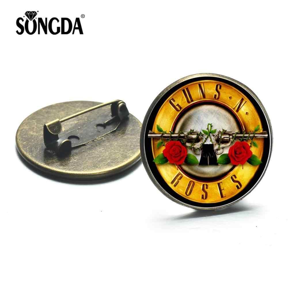 SONGDA 2020 อินเทรนด์ Guns N กุหลาบรอบเข็มกลัดยอดนิยม ROCK Band โลโก้ 3D พิมพ์แก้ว Cabochon หมุดโลหะ Hip Hop เพลงป้าย