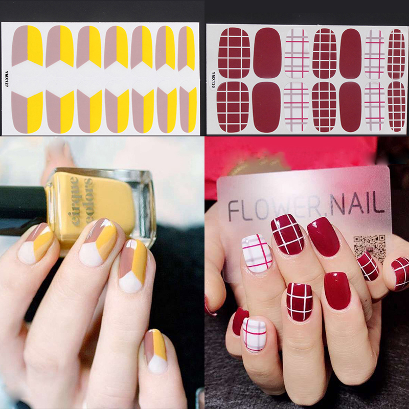 14tips/sheet Full Cover Nail Stickers Wraps DIY Nail Art Decals Plain Stickers Self Adhesive Nail Stickers Finger Sticker