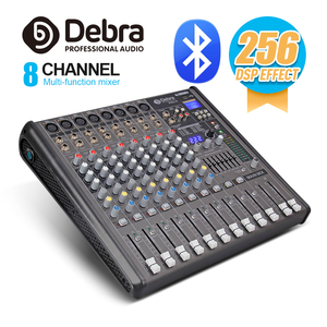 Profissional debra audio pro 8 canal com 256 dsp efeitos sonoros bluetooth studio mixer audio-dj controlador de som interf