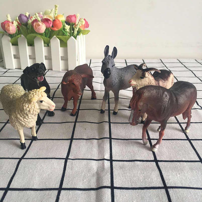 6pcs จำลองฟาร์มสัตว์รูปแกะสุนัข Horse Donkey วัววัวสัตว์ชุดเด็ก STATIC พลาสติกของเล่นเดสก์ท็อปตกแต่ง