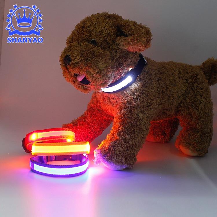 USB Shining Pet Dog Collar LED Charging Shiny Dog Collar Bite-proof Protector Order Dongguan