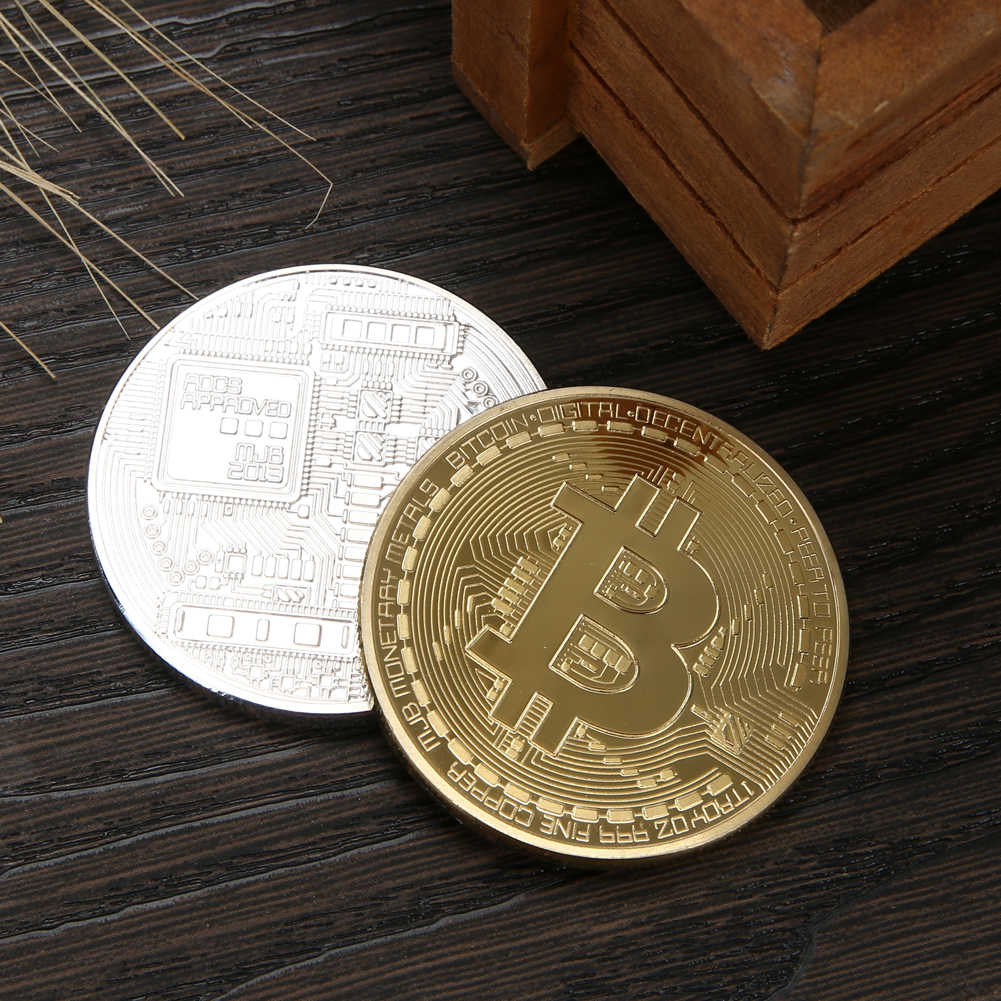 1pc 38mm Collection Coin Bitcoin Gold Plated Bronze Physical Bitcoins Casascius Bit Coin BTC New Year Gift Non-currency Coins-2
