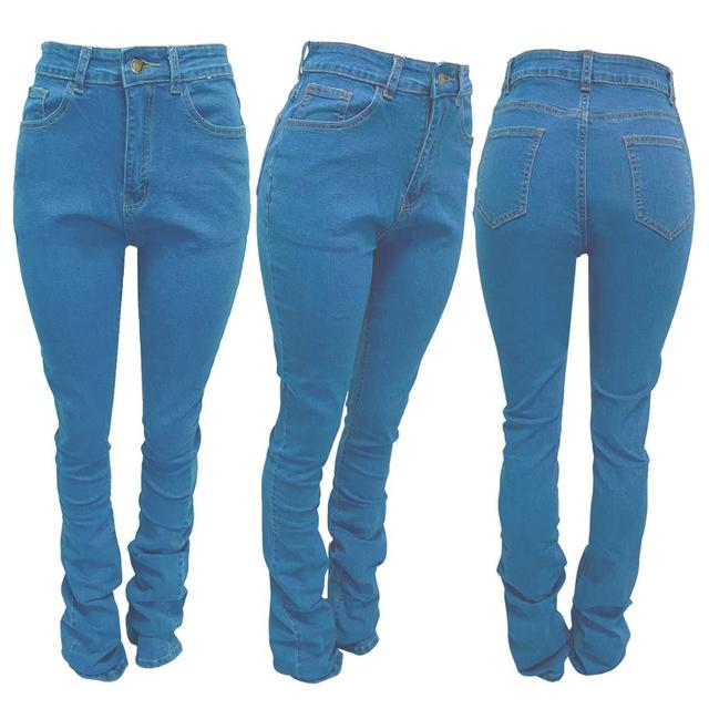 Stacked Jeans Women Causal Ruched High Waist Leggings Bell Bottom Flare Pleated Jeans Pants Washed Elastic Activewear Trousers 6