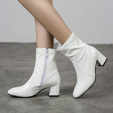 Fashion Women Ankle Boots Comfortable Square Heel Women Boots Zipper Square Toe Women Short Boots Autumn Winter Shoes Black msfair round toe square heel women boot fashion metal zipper med heel ankle boots women shoes winter genuine leather boots women