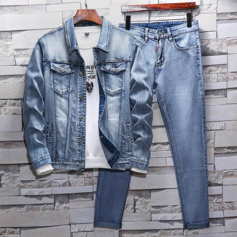 Mens Jeans Suit Korean Denim Slim Lengthen Legs Men Spring/autumn Jeans Street Style Cowboy Coat Plus Size Men's Casual Suit