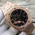Marca de luxo New Automatic Men Mecânica Relógio de Vidro Transparente Voltar Skeleton Rose Gold Black Silver Turbilhão Relógios AAA +