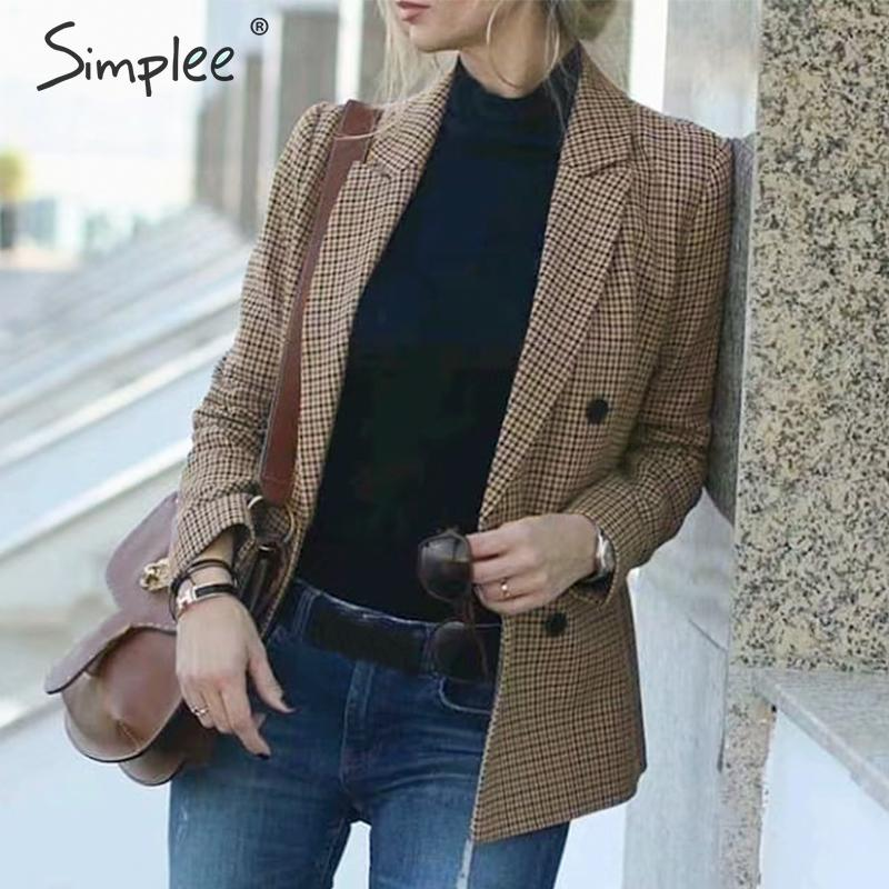 Simplee Vintage Plaid Women Blazer Coat Long Sleeve Button Pockets Streetwear Female Blazers Autumn Winter Office Ladies Jackets