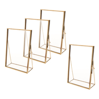 4Pcs Clear Glass Sign Holder with Gold Borders and Vertical Stand, Double Sided Table Menu Holders Picture Frames 4x6''