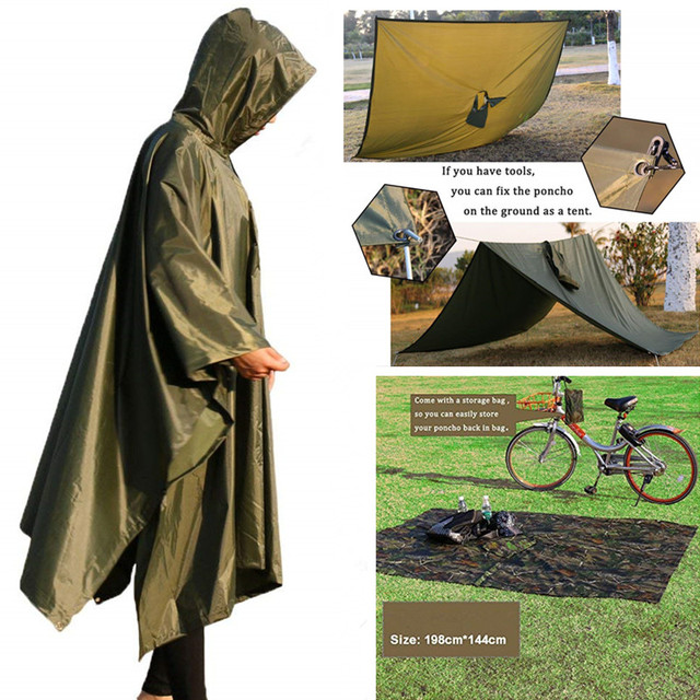 3 In 1 Outdoor Military Waterproof Raincoat Rain Coat Men Raincoat Women Awning From The Rain Motorcycle Rain Poncho Picnic Mat 4