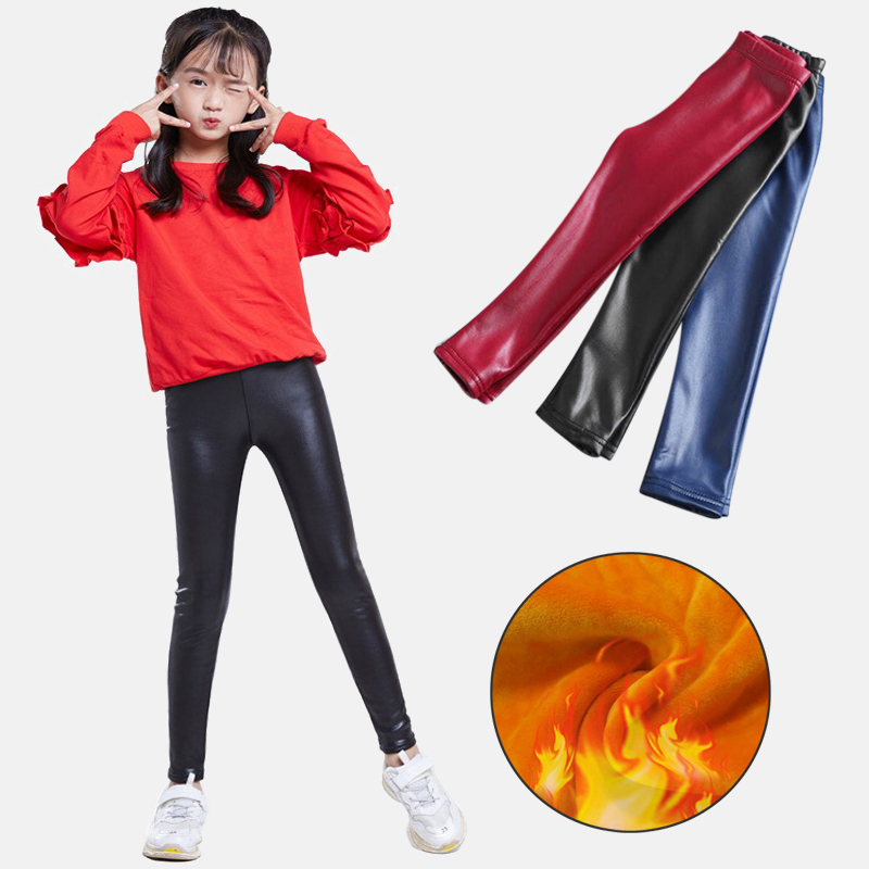 Girls Leggings Winter Children's Slim Pants Thick Velvet Leggings Imitation Pu Leather Pencil Pants Children Warm Leggings