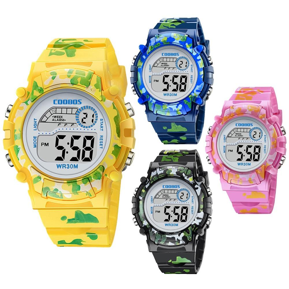 Unisex Kids Sports Backlight LED Display Date Week Alarm Clock Digital Watch