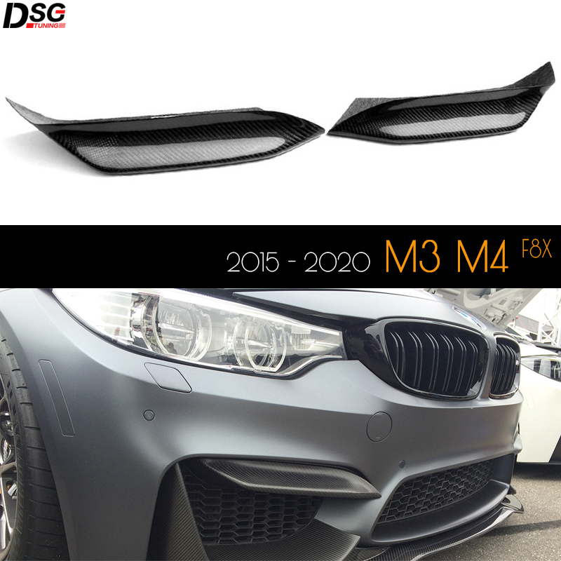 Carbon Fiber Front Bumper Upper Splitters Flap Canards for BMW M4 (F82 Coupe, F83 Convertible) & M3 (F80 Sedan) 2015 - 2020 image