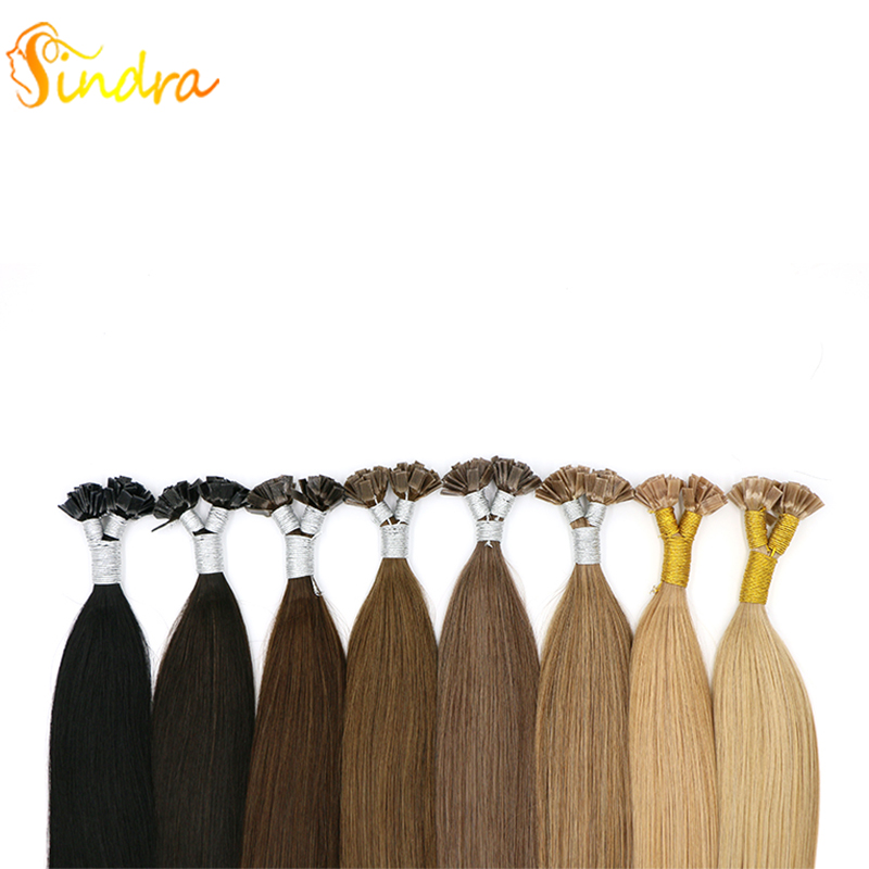 Sindra Flat Tip Hair Extension 1g/piece 14-24 Inch 100% Real Remy Human Hair Extension Keratin Natural Colors