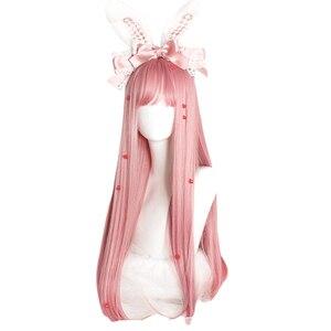 Image 2 - L email peruk uzun pembe Lolita peruk düz kadın saç sevimli Cosplay peruk Harajuku japon cadılar bayramı isıya dayanıklı sentetik saç
