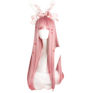 Image 3 - L メールかつらロングピンクロリータかつらストレート女性の髪かわいいコスプレウィッグ原宿日本ハロウィン耐熱合成髪