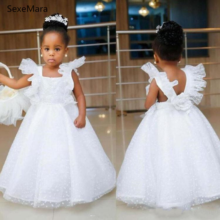 White Lace Puffy Tulle Baby Girls Clothes For Birthday Party Long Kids Dresses For Wedding Party Communion Gown Custom Made