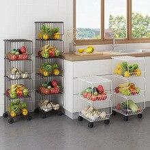 Черные кухонные стеллажи, домашняя посуда, пол, многослойные блюда, овощи, корзины для фруктов, полки для белого мусора
