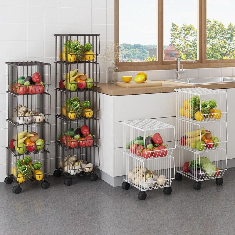 Black Kitchen Racks, Household Pots, Floor, Multi-layer Dishes, Vegetables, Fruit Baskets, White Debris Shelves