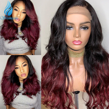 Shumeida Ombre Color Lace Front Wig for Women Brazilian Remy Hair Middle Part Wigs 100% Human Hair Front Lace Wig with Baby Hair