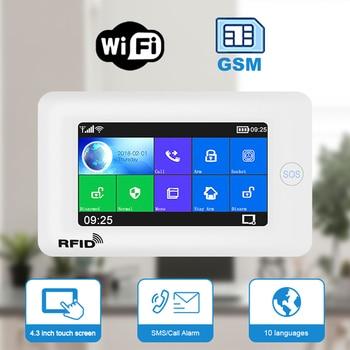 Tuya WiFi GSM GPRS Home Security Alarm with Touch Screen SOS RFID PIR Motion Detect Intruder Burglary Alarm support Alexa Google digoo dg hama all touch screen alexa version 433mhz gsm