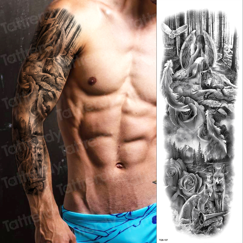 Temporary Tattoo Full Arm Sleeve Tatoo Temporary Stickers For Man Boys Sexy Tatoo Fake Waterproof Large Size Decal Black Women