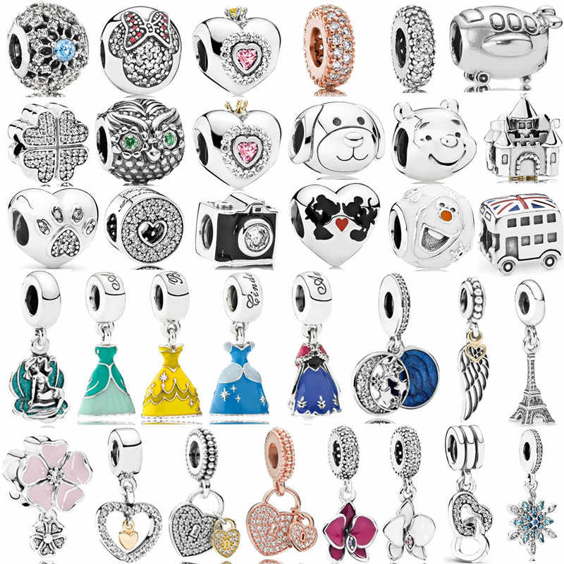 Silver Plated New Dress Mickey Unicorn Charms Beads Pendant Fit Pandora Bracelets & Necklace For Women DIY Lovers Jeweley