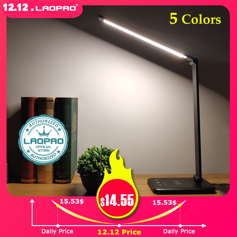 LAOPAO 52PCS LED Desk Lamp 5 Color x5 Dimable Level Touch USB Chargeable Reading Eye-protect with timer Table lamp Night Light