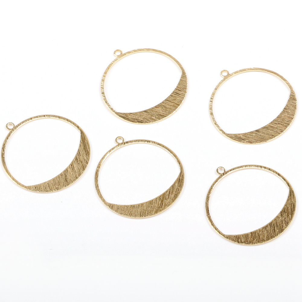 6pcs Raw Brass Earring Charms Earring Supply Wave Round Coin Shaped Double Holes Earring connector-Earring findings-jewelry supply 18mm