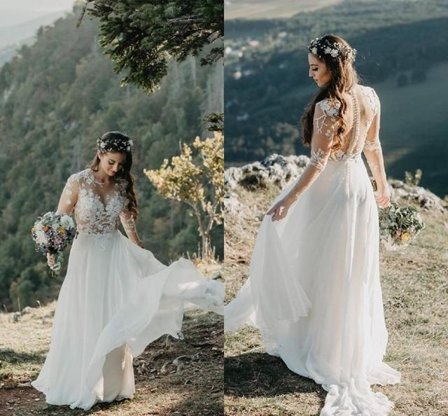 Bohemian Vintage Wedding Dress 2020 boho long sleeve Beach Bridal Gowns Chiffon with sleeves Brilliant Simple Cheap A-Line