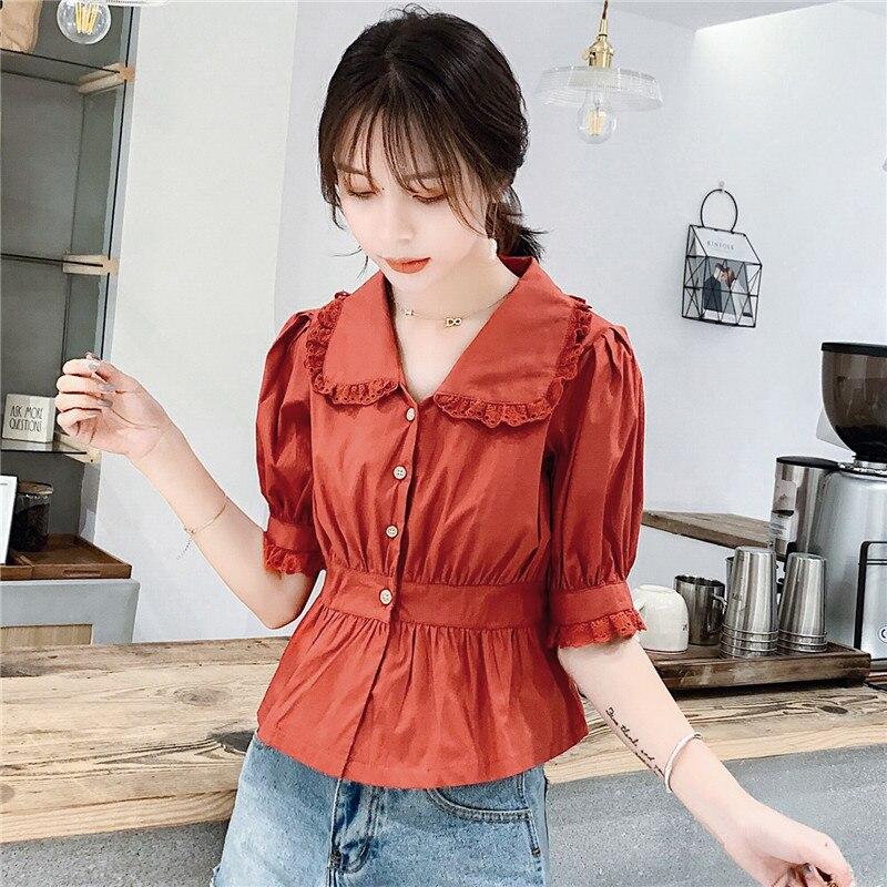 Nouveau été femmes col claudine Patchwork chemises mode blanc rouge solide manches courtes Blouse hauts femme chemise