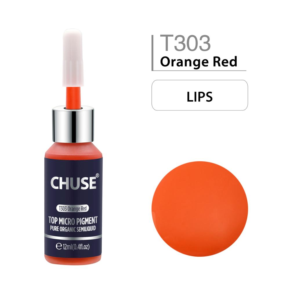CHUSE Microblading Micro Pigment T303 Orange Red Permanent Makeup Tattoo Ink Cosmetic Color Passed SGS,DermaTest 12ml (0.4fl.oz