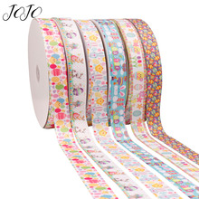 JOJO BOWS 25mm 5y Grosgrain Ribbon Easter Cartoon Animal Printed Webbing For Needlework Party Decoration Gift Wrapping DIY Bows