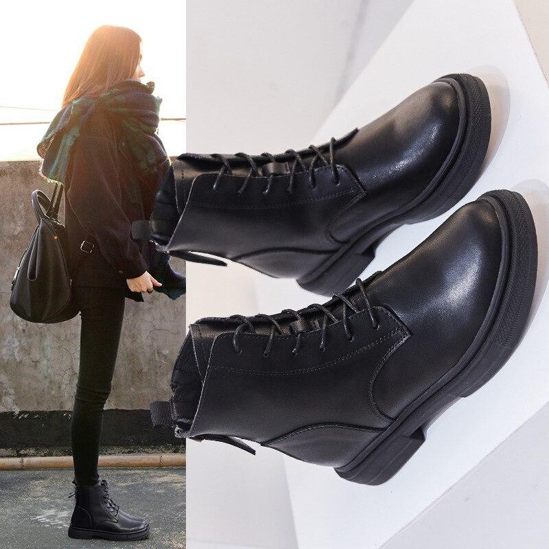 Koovan Women's Boots 2019 New Back Zipper Boots Women's Shoes 2019 New Leather Black Winter Plush Short Locomotive Short Boots