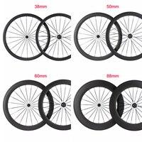 New T800 Carbon Wheelset Tubular 38/50/60/88mm Wheels Clincher Road Carbon Bike Wheels Basalt Braking Direct selling fo factory
