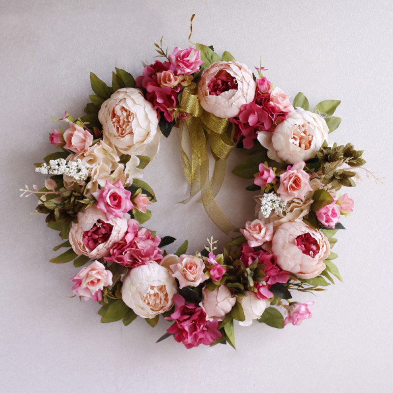 Christmas Flower Garland Ornaments Round-shaped Artificial Flowers Wreath Lintel Thanksgiving Simulation Rose Doors Decorated