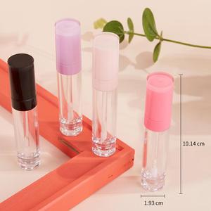 Пластиковый матовый тюбик для губ 8 мл, пустая туба для бальзама для губ с черной/розовой крышкой, круглые многоразовые Бутылочки для губ, ин...