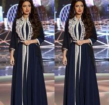 Темно синие марокканские Кафтан Вечерние платья с аппликацией