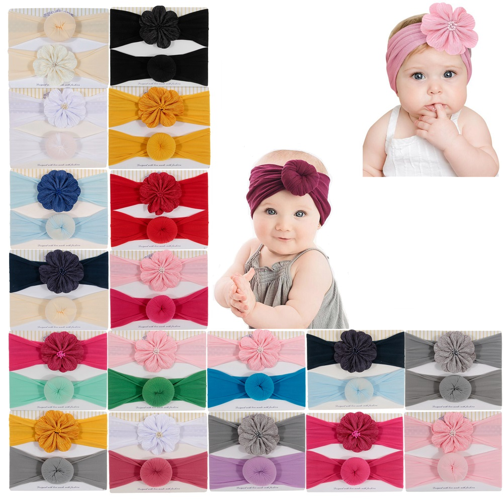 New 2pcs/lot Elastic Knot Headbands For Baby Girls Hair Accessories Round Ball Flower Nylon Turban Stretchy Rubber Hair Bands