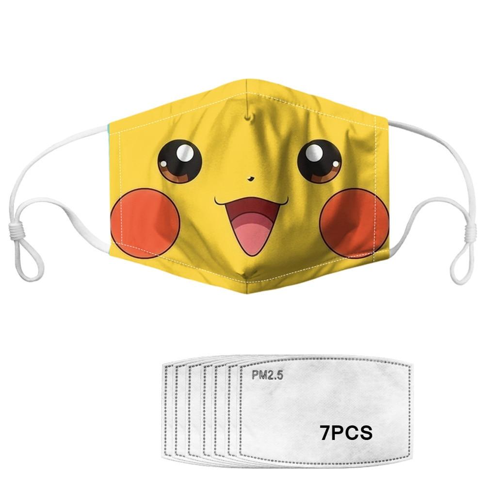NOISYDESIGNS Pikachu Print Kawaii Mouth Mask For Kids Adults Anti Haze Masks Cartoon Pokemon Mascherine Masque Tissus Lavable