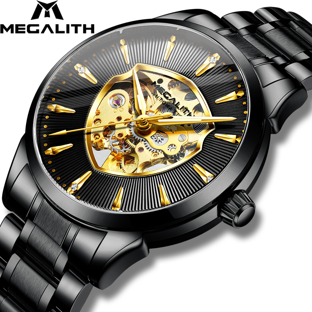 Mechanical Men Watches MEGALITH 2020 Top Fashion Brand Waterproof Male Clocks Black Stainless Steel Man Watch Relogio Masculino