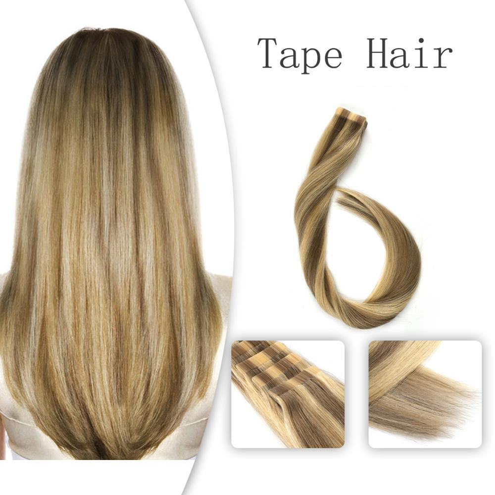 Vlasy 20 Inch Tape Hair Extension Straight Skin Weft Remy Human Hair Ombre Color Light Cappuccino & Cream# 2.5g/pc