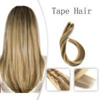 Vlasy 20 дюймов лента для наращивания волос прямые уток кожи Remy человеческие волосы Омбре цветной светильник капучино и крем #2,5 г/шт.