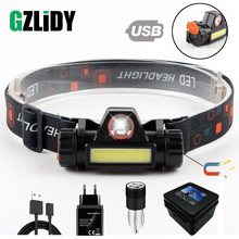LED Headlamp Magnet-Headlight Battery-Suit Work-Light Fishing Waterproof Built-In Camping